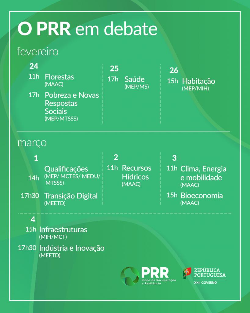 Calendário O PRR em debate